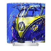 Vw Bus Blue Shower Curtain