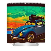 Classic Surf Rod Shower Curtain