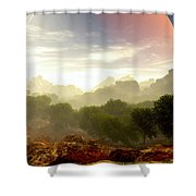 Wada's Red Moon Shower Curtain