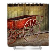 Wagon - That Old Red Wagon  Shower Curtain by Mike Savad