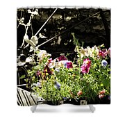 Wagon Wheel And Flowers Shower Curtain