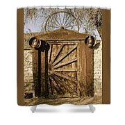 Wagon Wheel Gate Shower Curtain