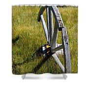 Wagon Wheel In Grass Shower Curtain