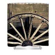 Wagon Wheel - Old West Trail N832 Sepia Shower Curtain