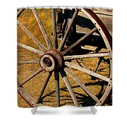 Wagon Wheel Shower Curtain by Perry Webster