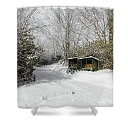 Wagon Wheels And Firewood Shower Curtain by D K Wall