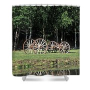 Wagon Wheels Reflecting In A Pond Shower Curtain