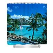Waikiki And Sailboat Shower Curtain