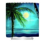 Waikiki Beach Moon #22 Shower Curtain