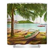 Waikiki Beach Outrigger Canoes 344 Shower Curtain