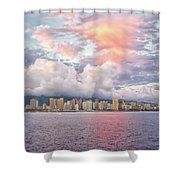 Waikiki Beach Sunset Shower Curtain