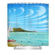 Waikiki Shower Curtain by Jerome Stumphauzer