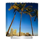 Waikiki Skyline Shower Curtain