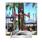 Waikiki Statue - Duke Kahanamoku Shower Curtain