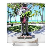 Waikiki Statue - Prince Kuhio Shower Curtain
