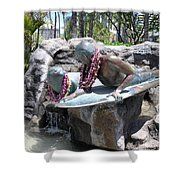 Waikiki Statue - Surfer Boy And Seal Shower Curtain