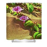 Wailea Beach Morning Glory With Honeybee Shower Curtain
