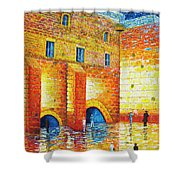 Wailing Wall Original Palette Knife Painting Shower Curtain