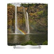 Wailua Falls Rainbow Shower Curtain