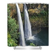 Wailua Falls Surrounded By Foliag Shower Curtain