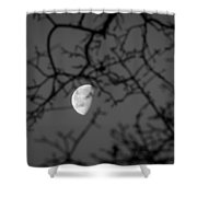 Waning Black And White Shower Curtain