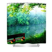 Waiting Bench Shower Curtain