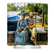 Waiting By The Boats Shower Curtain