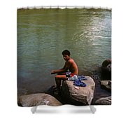 Waiting For A Fish Shower Curtain