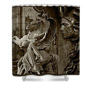 Waiting For Alexander - Heroes And Gods - Brown  Shower Curtain