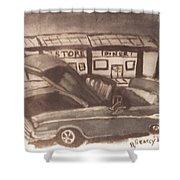 Waiting For Service- Sephia Shower Curtain