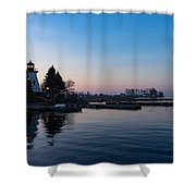 Waiting For Sunrise - Blue Hour At The Lighthouse Infused With Soft Pink Shower Curtain