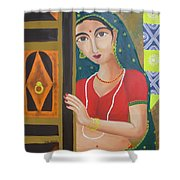 Waiting Girl  Shower Curtain
