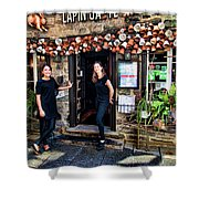 Waitresses At Outdoor French Terroir In Old Quebec City Shower Curtain
