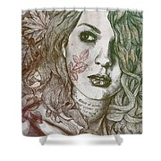 Wake - Autumn - Street Art Woman With Maple Leaves Tattoo Shower Curtain