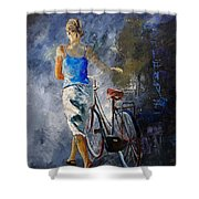 Waking Aside Her Bike 68 Shower Curtain