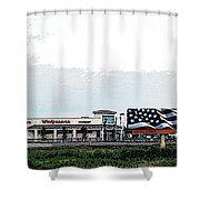Walgreens With American Flag Billboard Poster Look Shower Curtain