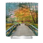 Walk To The Lake In Watercolors Shower Curtain