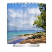 Walking Along The Beach, Holetown, Barbados Shower Curtain