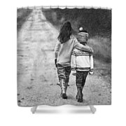 Walking Down The Road Shower Curtain