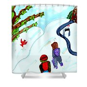 Walking Home From School Shower Curtain