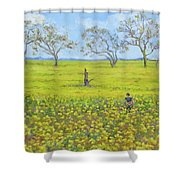 Walking In The Mustard Field Shower Curtain