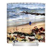 Walking The Beach On Long Beach Island Shower Curtain