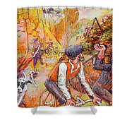 Walking The Dog 7 Shower Curtain