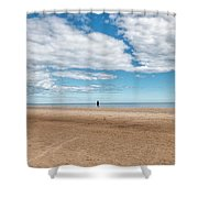 Walking The Dog On The Beach Shower Curtain