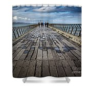 Walking The Pier Shower Curtain