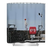 Walking The Pier Wall Shower Curtain
