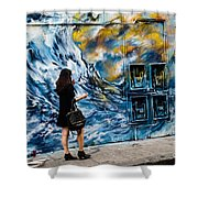 Walking Through The Waves . Shower Curtain