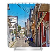 Walking Up Steep Streets In Hilly Valparaiso-chile Shower Curtain