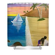 Walking With You On Beach Shower Curtain