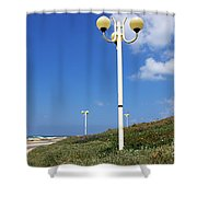 walkway along the Tel Aviv beach Shower Curtain